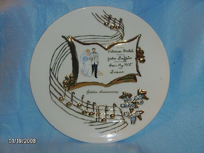 This is a hand painted 50th Wedding Anniversary Plate