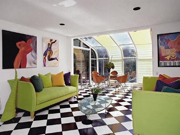 decoracao piso branco:Black and White Floor