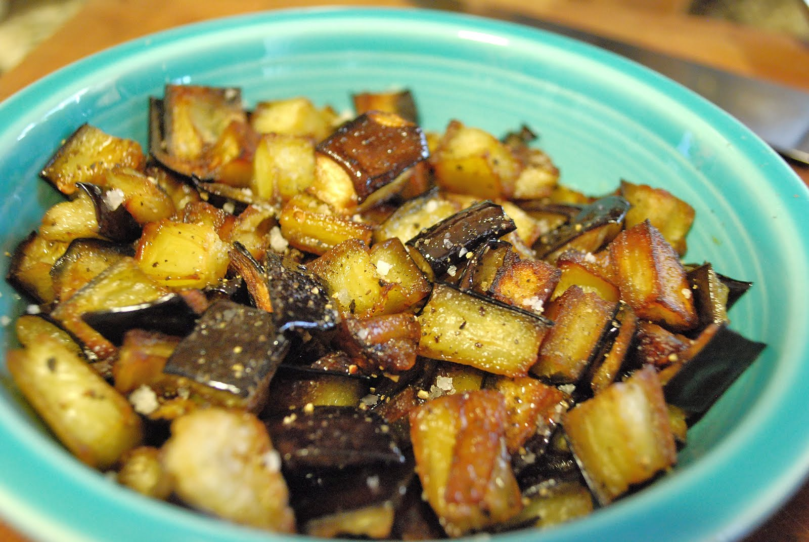 roast eggplant cubes recipes dishmaps how to roast eggplant cubes