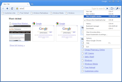 incognito window in google chrome