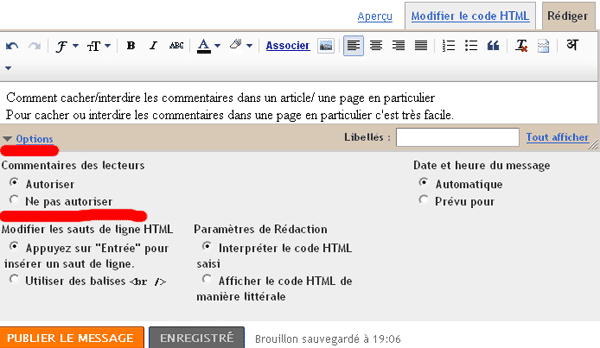 Cacher Commentaire Blogger