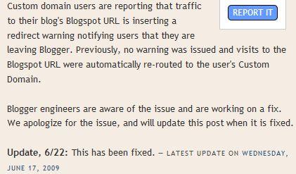 Erreur nom domaine blogger bug