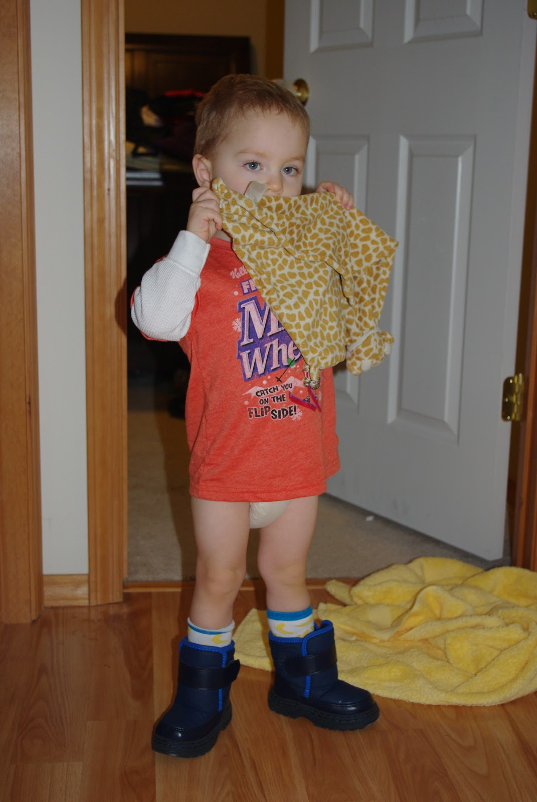 No pants. Socks. Boots on the wrong feet. Awesome.