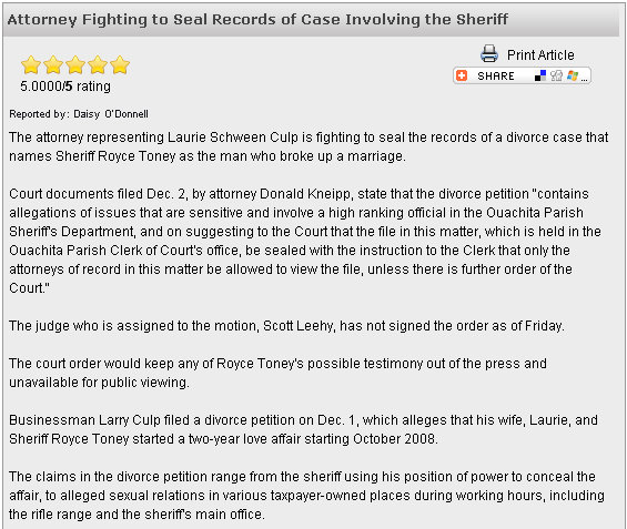 Divorce Court Records: We Saw That...: UPDATED Ouachita Parish, La. Sheriff Royce