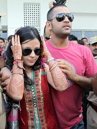 MS Dhoni with His wife...