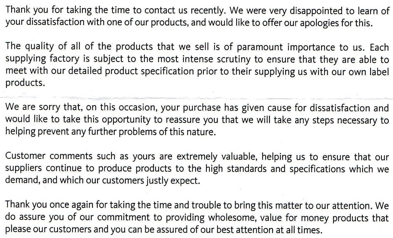 I Am Appalled By This Letter Have Received From Morrisons Supermarket Head Office In Reply To My Of Complaint Bought A Multipack 6 Pack