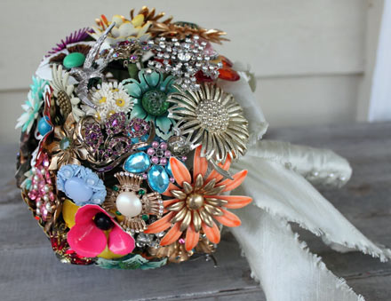 Here are a couple fun ideas for some vintage inspired bridal bouquets