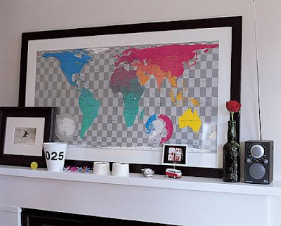 Wall Art World map from Future Mapping Company