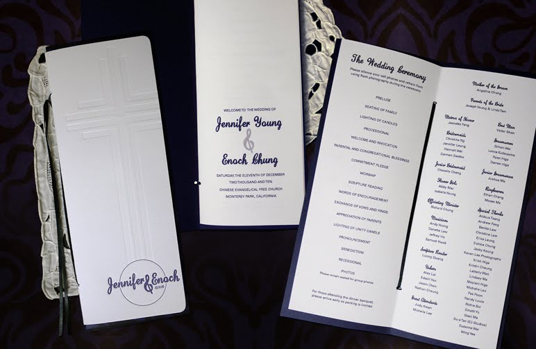I designed these wedding programs for them The wedding was held in a church