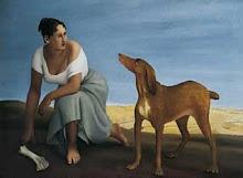Mujer con perro de caza