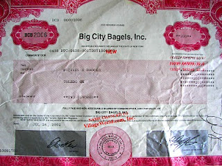 Big City Bagels stock certificate