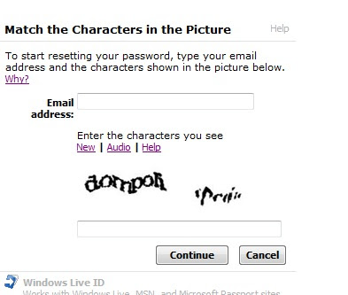 Unintelligible Windows Live - Microsoft screen CAPTCHA