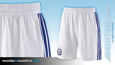 Camiseta Argentina Suplente Mundial Sudáfrica 2010 - Short