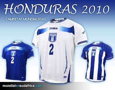 Camisetas de Honduras Mundial Sudáfrica 2010; Titular, Suplente y 3er Uniforme Joma