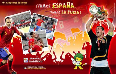 Descargar Fondos de Pantalla (Wallpapers) Mundial 2010 de España, Iker Casillas y Andres Iniesta