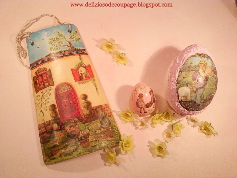 Delizioso d coupage decorazioni pasquali su tegole e uova - Decorazioni decoupage ...