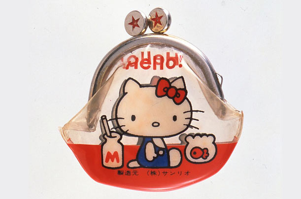 Hello Kitty made her first appearance as a decoration on a vinyl coin purse,