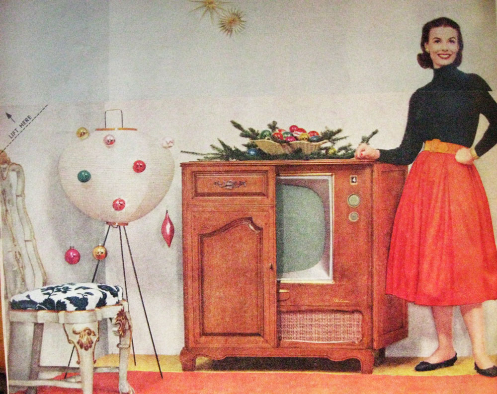 in each image she is wearing a different bottom has a new television and a new arrangement of totally hip moderne mid century christmas decorations