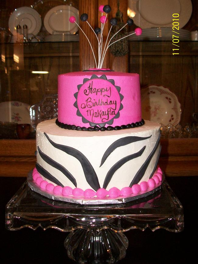 Hot Pink Cake Images : Sandy s Sweet Cakes: Hot Pink Zebra Stripes Cake