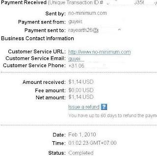 Pembayaran dari No Minimum