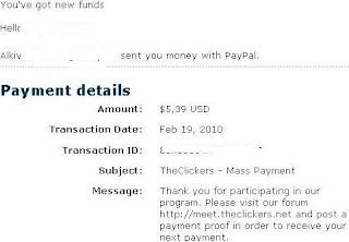 Pembayaran dari The Clickers PTC
