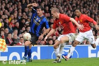 pemain Inter Milan saat melawan Manchester United dalam pertandingan Liga Champions