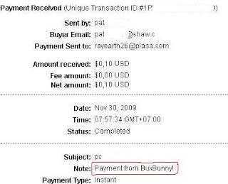 Pembayaran dari Bux Bunny PTC