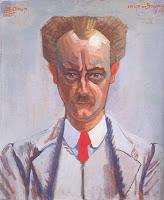Geleend van http://www.domburgatart.nl/sparkling_light/light.html: Jan Toorop, Portret van de schrijver Arthur van Schendel / Portrait of the Writer Arthur van Schendel, 1912, oil on cardboard, 76 x 64 cm, Stedelijk Museum, Amsterdam (on loan)