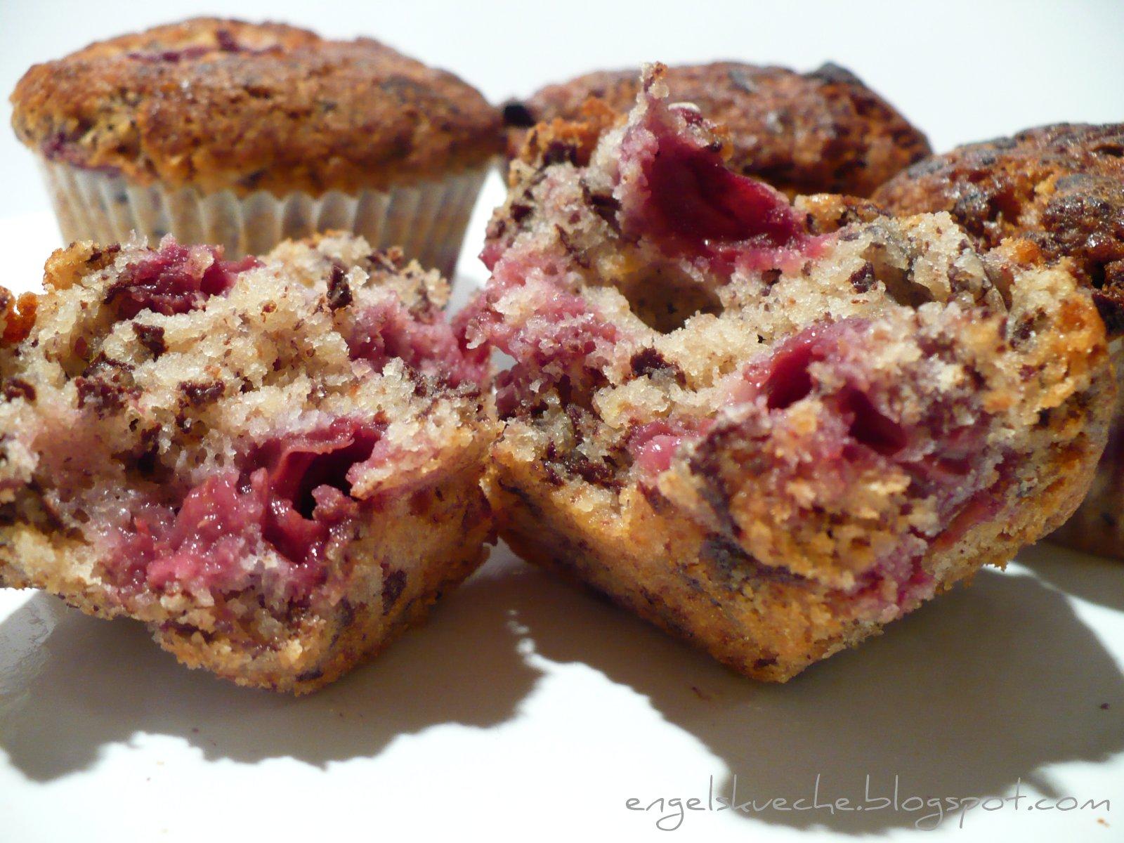 Essen Aus Engelchens Küche Schoko Nuss Muffins Mit Kirschen