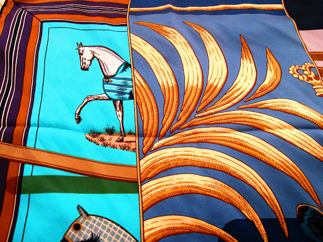 Close up of Hermes' Carre en Carres