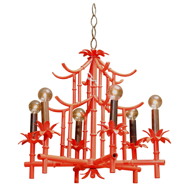 Red Pagoda Chandelier from Pieces