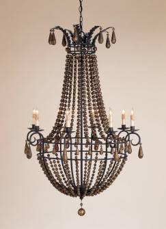 Classic European Empire chandelier with wrought iron frame, wooden beads, Spanish gilt and gold leaf from Mecox Gardens