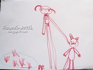 Детские Рисунки девочка зайчик котик фломастер животные зверюшки