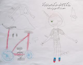 Детские Рисунки девочка карандаш велосипед костюм платье
