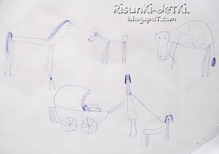 Детские Рисунки животные зверюшки мама ребенок коляска собака лошадь корова шариковая ручка