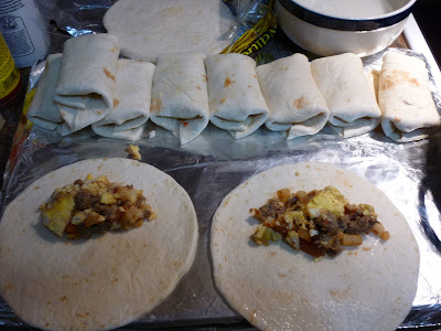 Tortillas Sausage Hashbrowns Eggs  Breakfast Tacos / Breakfast Burritos