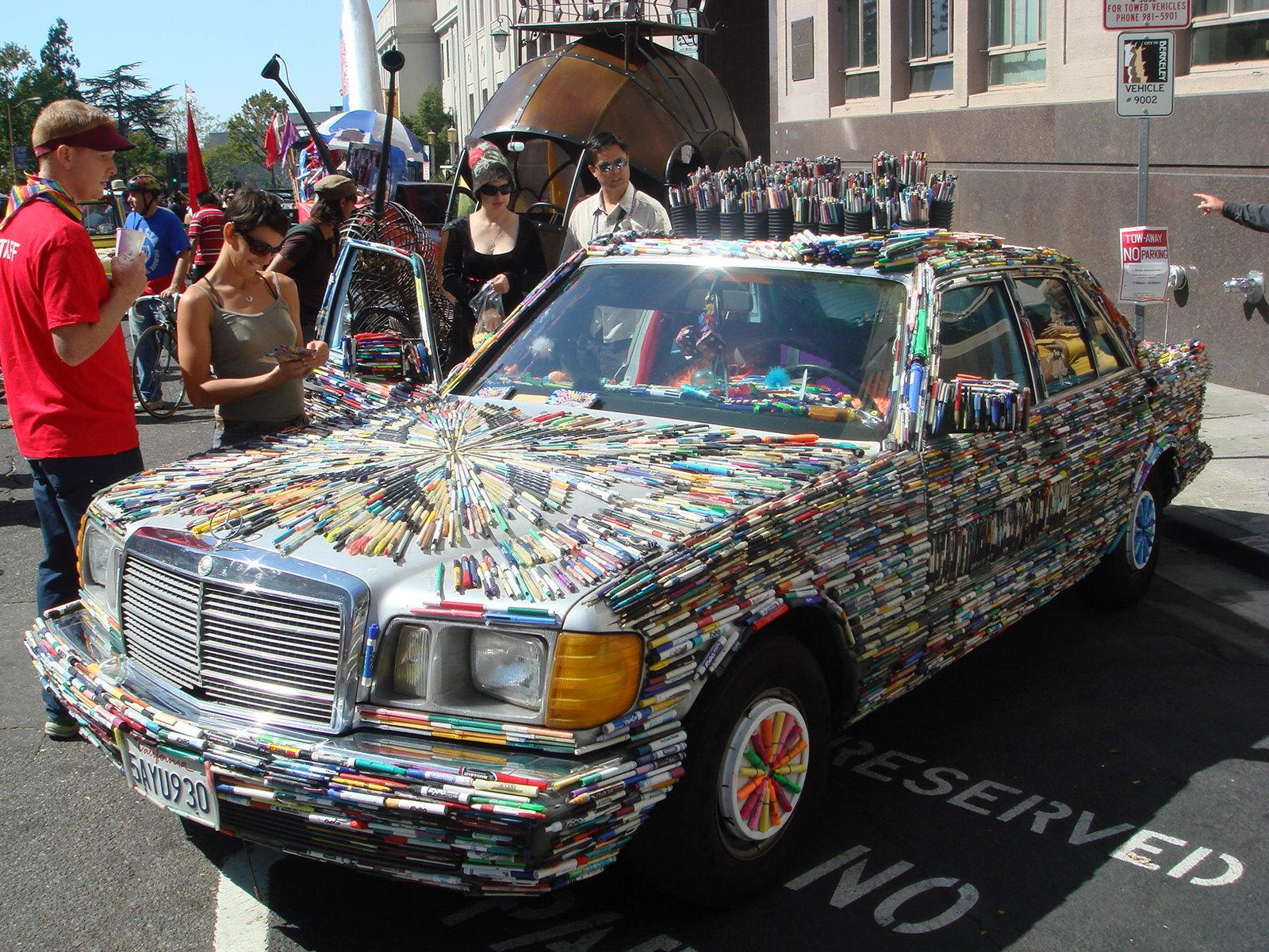The Pen Guy and the Mercedes Pens Art Car in Berkeley