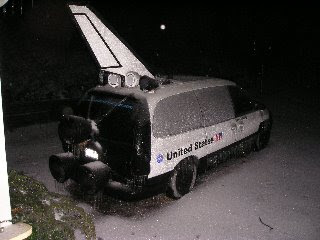 Shuttle Van frozen at Night