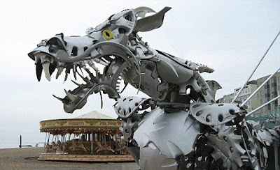 Hubcap Dragon Sculpture