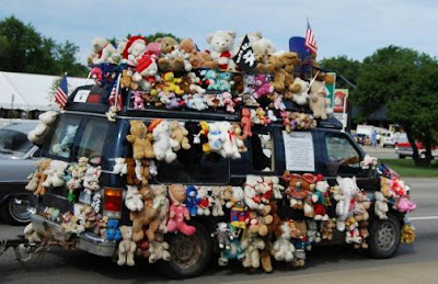 Van Covered with Stuffed Bear Road Kill