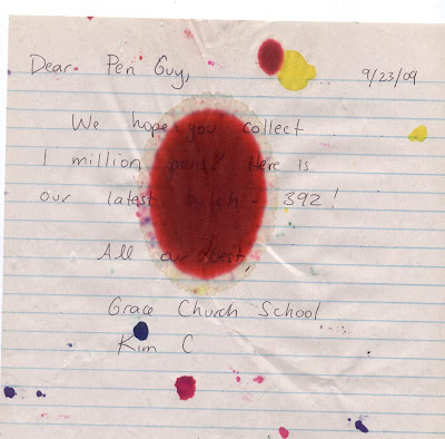 Red Crayola Stained Note for the Pen Guy