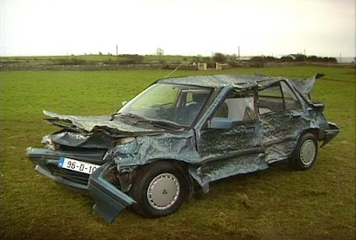 Car destroyed by multiple golf balls out on the range - Or did Tiger Woods mistakenly take a wrong turn in life?