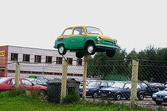 green car on pole