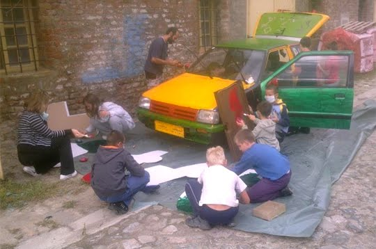 Kids working on Magic Art Car