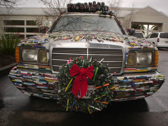 Mercedes Pens with Christmas Wreath - Art Car