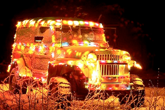 Jeep Christmas Car with Lights - Art Car