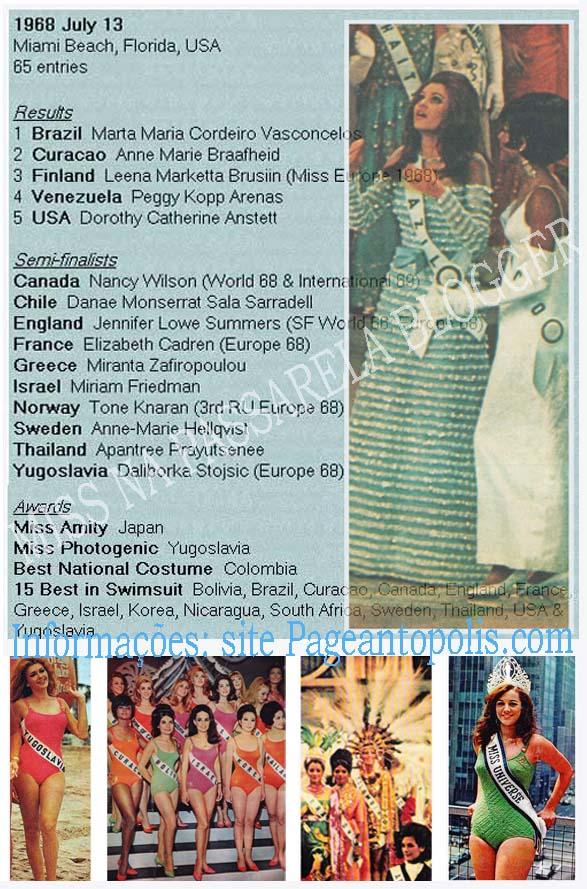 ☽ ✮ ✯ ✰ ☆ ☁ Galeria de Martha Vasconcelos, Miss Universe 1968.☽ ✮ ✯ ✰ ☆ ☁ 1968%2BBrazil%2B1