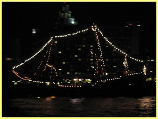 Pirate Ship Lit up at Night