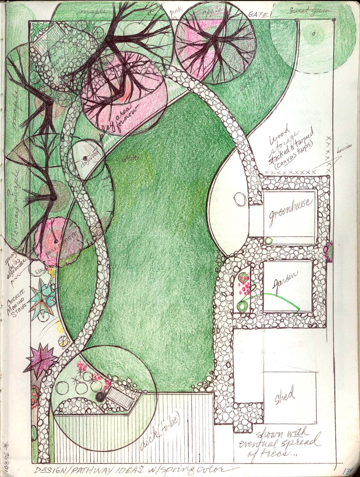 Gardenscaping plans sketches for Garden landscape drawing