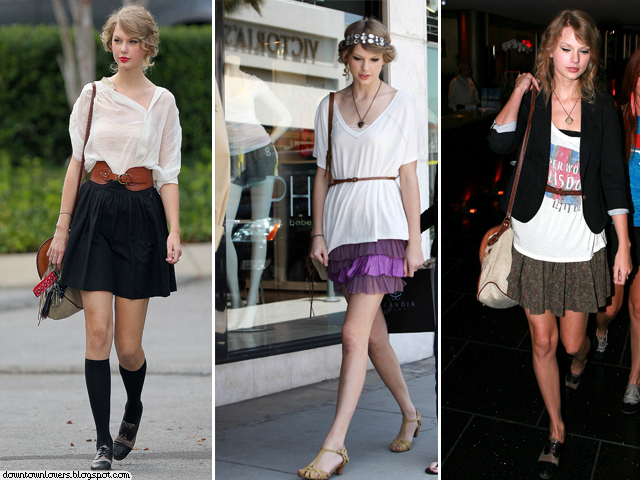 Estilo, Taylor Swift, Estilo Taylor Swift, Taylor Swift meia alta, Taylor Swift saia, Taylor Swift sapato raso, Taylor Swift bolsa, Taylor Swift mala, Taylor Swift carteira, Taylor Swift t-shirt,